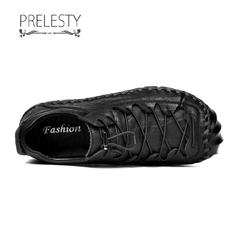 Prelesty Fashion Genuine Cow Leather Men Lace Up Shoes Handmade Stitching Comfortable Soft Breathable