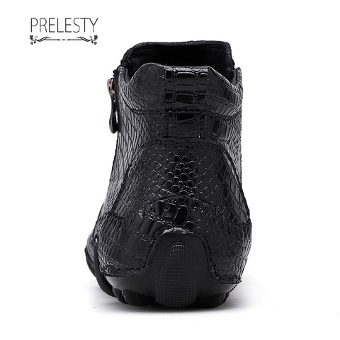 Prelesty Winter Men Boots Vintage English Style Real Leather Crocodile
