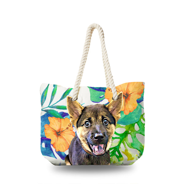 Canvas Bag - Watercolor Tropical Yellow Floral