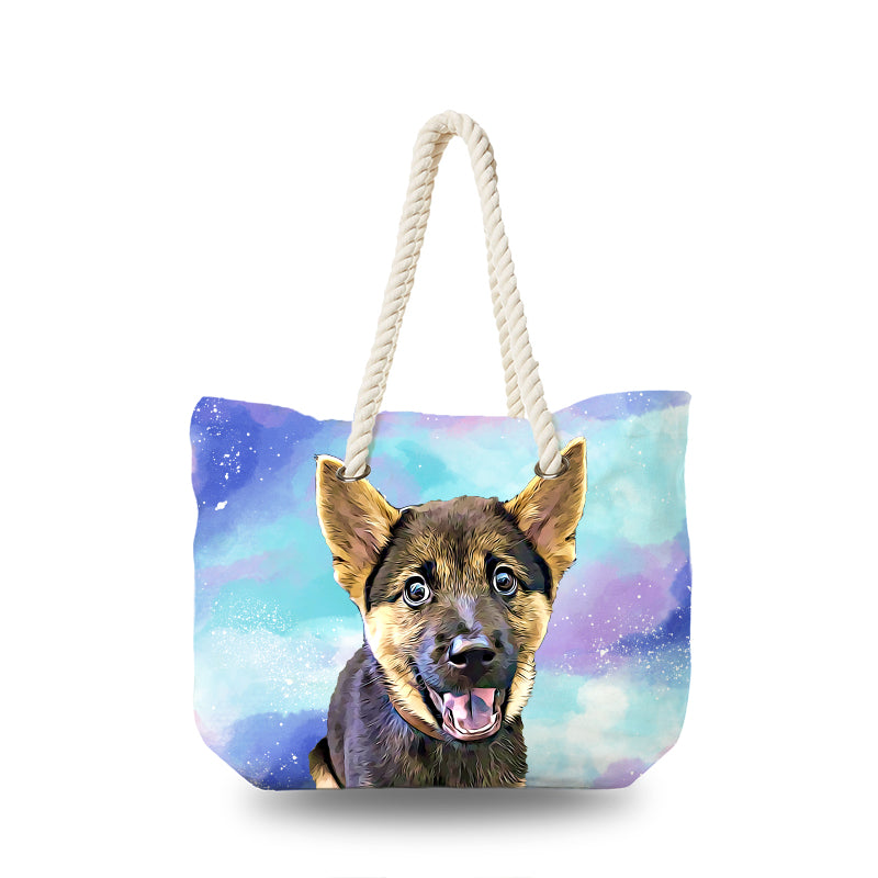 Canvas Bag - WaterColor Paint in Purple and Blue
