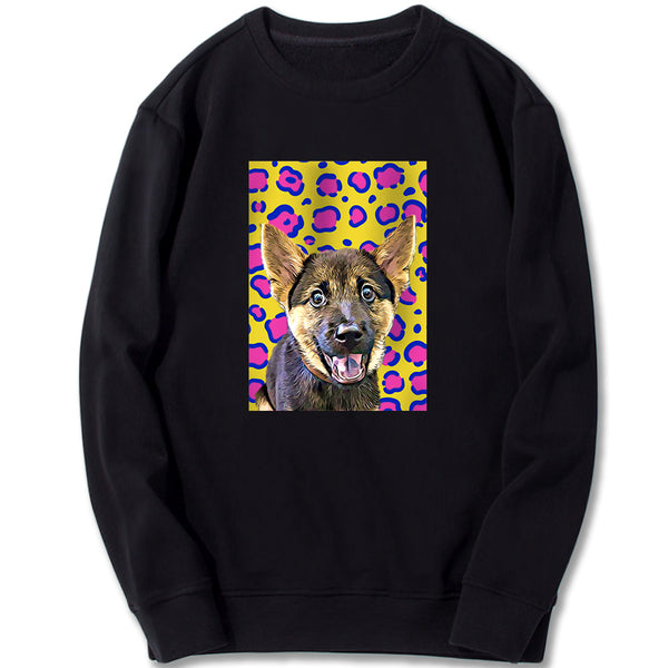 Custom Sweatshirt - Leopard Pattern In Pop Art Style
