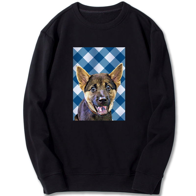 Custom Sweatshirt - Blue Check Pattern