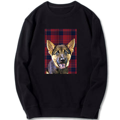 Custom Sweatshirt - Red Blue Checked Pattern