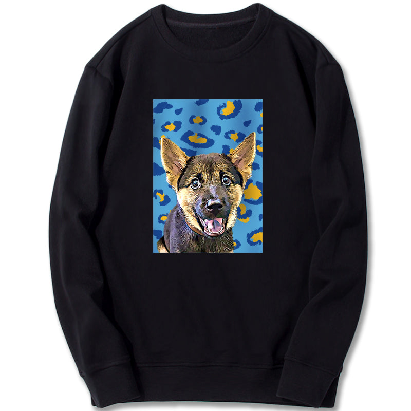 Custom Sweatshirt - Blue And Yellow Leopard Pattern