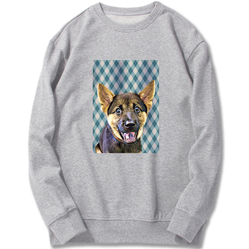 Custom Sweatshirt - Baby Blue Argyle Plaid  Pattern
