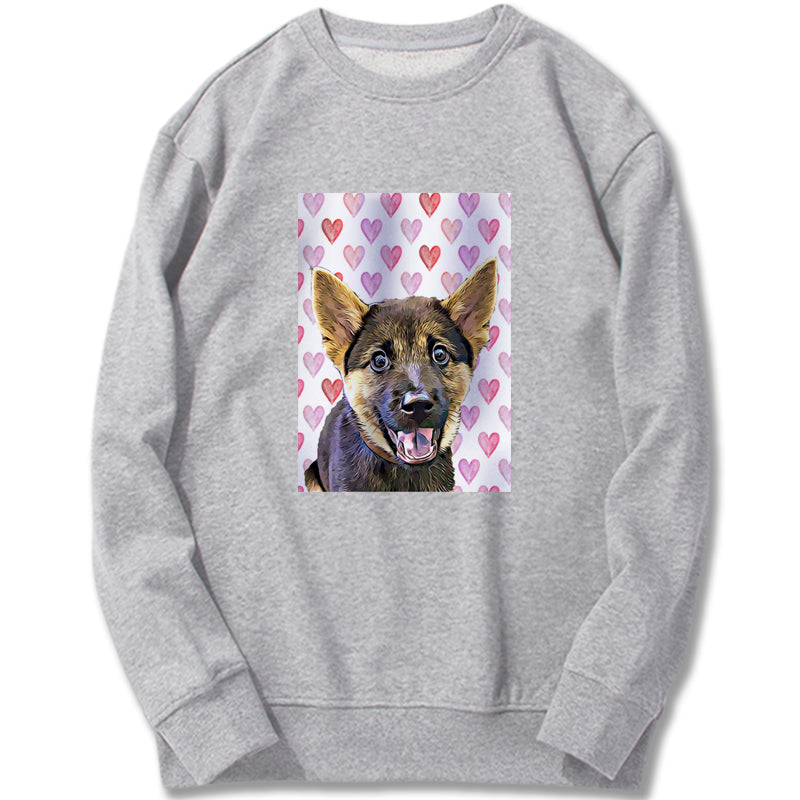 Custom Sweatshirt - Modern Watercolor Hearts
