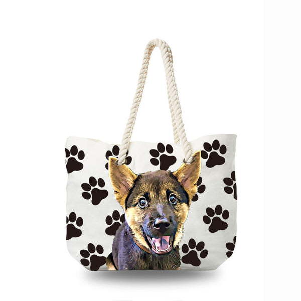 Canvas Bag - Black Paws
