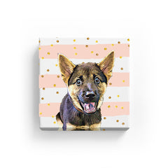 Canvas Print - Pink Splash Gold Dot
