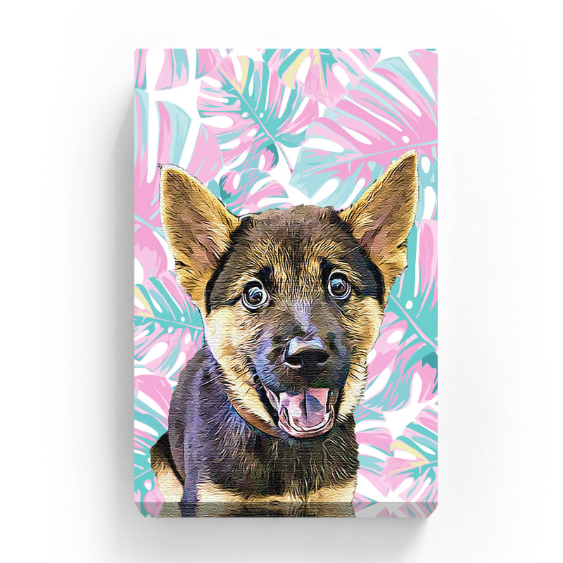 Pet Canvas - Pink Palm Leaves