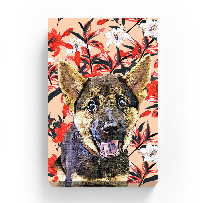 Pet Canvas - Red and White Lily