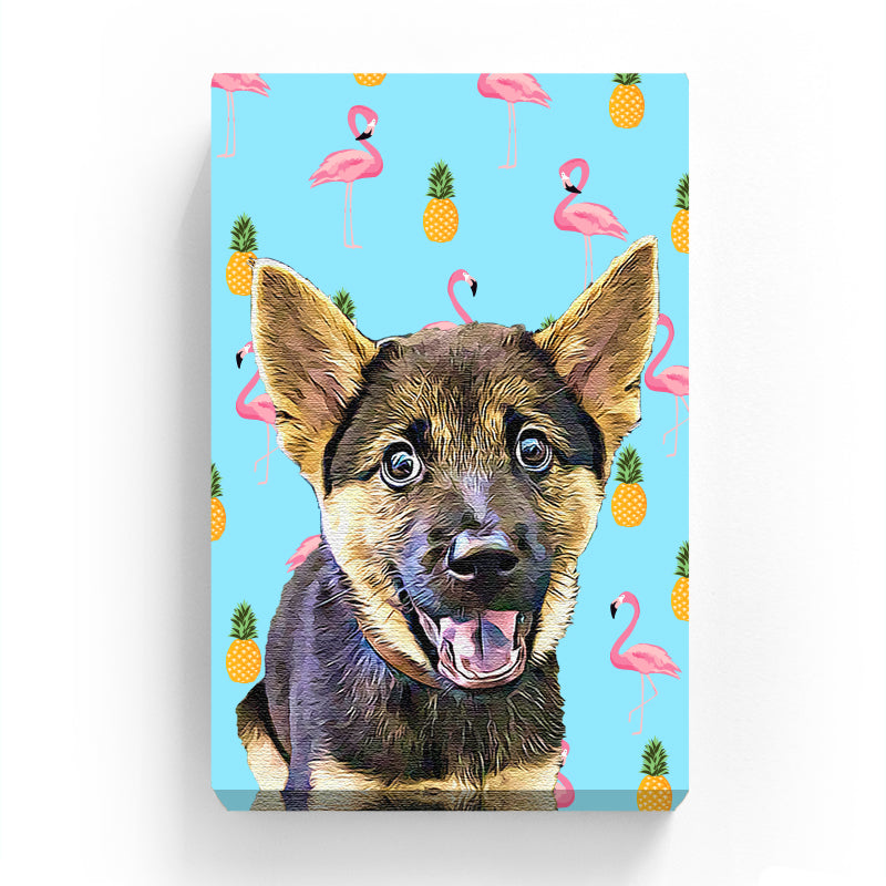 Pet Canvas - Pineapple with flamingo