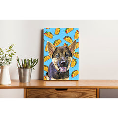 Pet Canvas - Taco on Blue Background