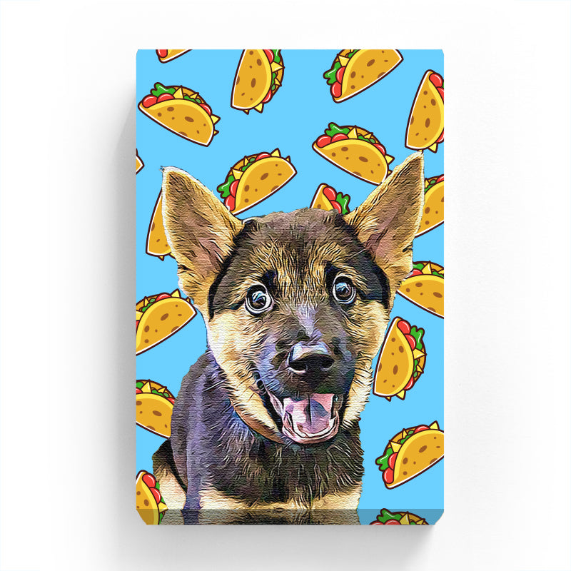 Canvas Print - Taco on Blue Background