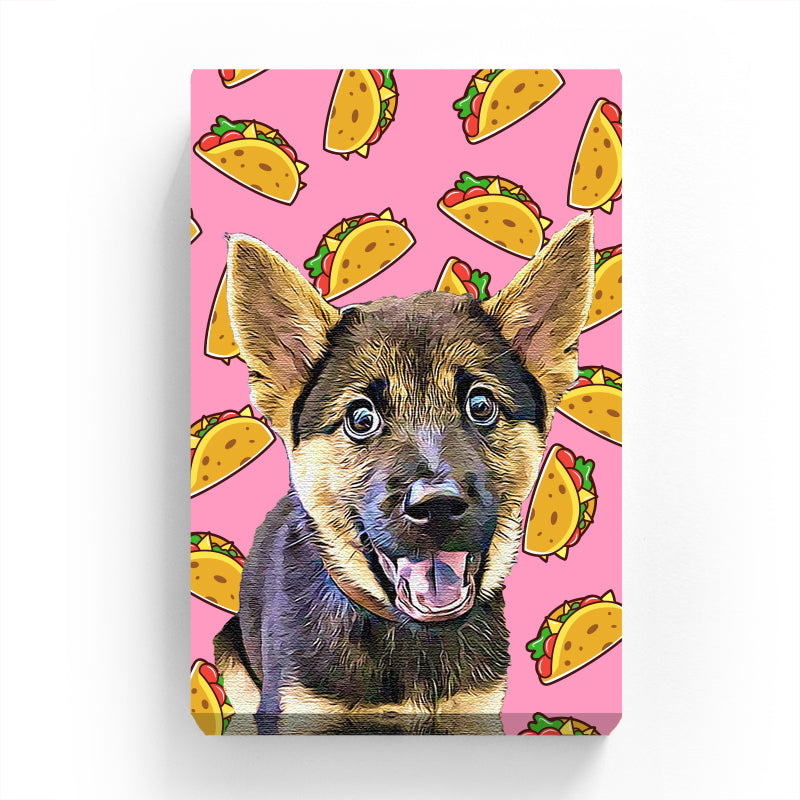 Pet Canvas - Taco on Pink Background