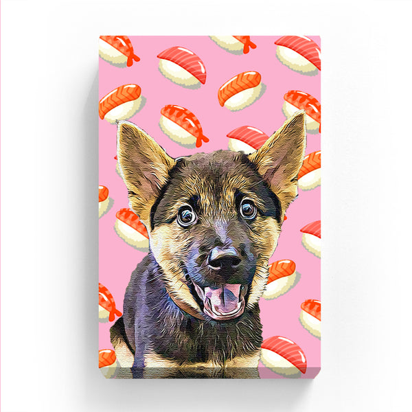 Pet Canvas - Sushi on Pink Background