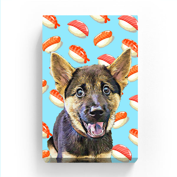 Pet Canvas - Sushi on Blue Background