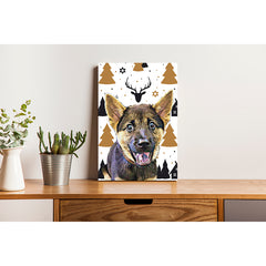 Canvas Print - Gold Christmas Tree wit h Deer
