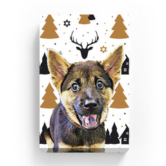 Pet Canvas - Gold Christmas Tree wit h Deer