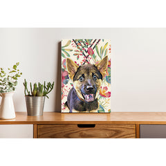 Canvas Print - Floral Watercolor with Diamond Shape