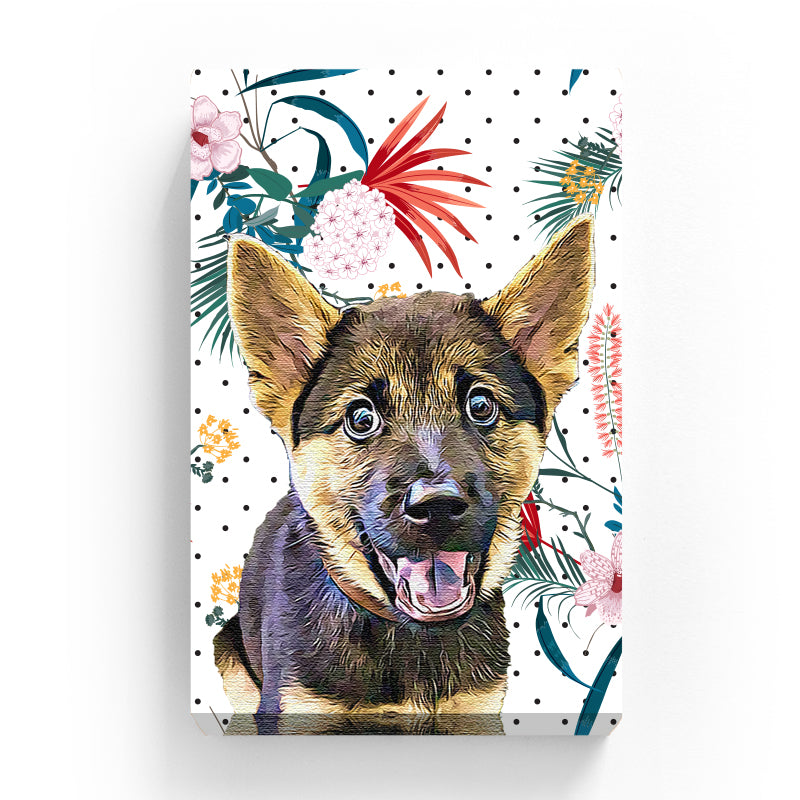 Pet Canvas - Blooming Florals on Black Dot Background