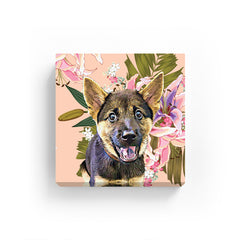 Pet Canvas - Lilly Flowers on pink Pastel Background