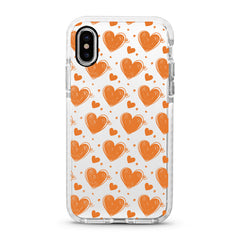 iPhone Ultra-Aseismic Case - Orange Brown Hearts