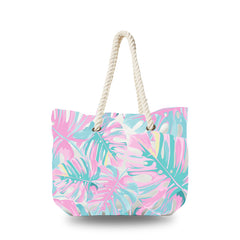 Canvas Bag - Pink Palm Leaves
