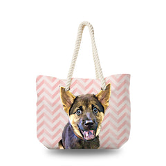 Canvas Bag - Sweet Pink Zigzag
