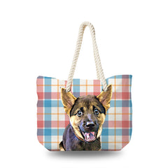 Canvas Bag - Light Red Blue Checked Pattern
