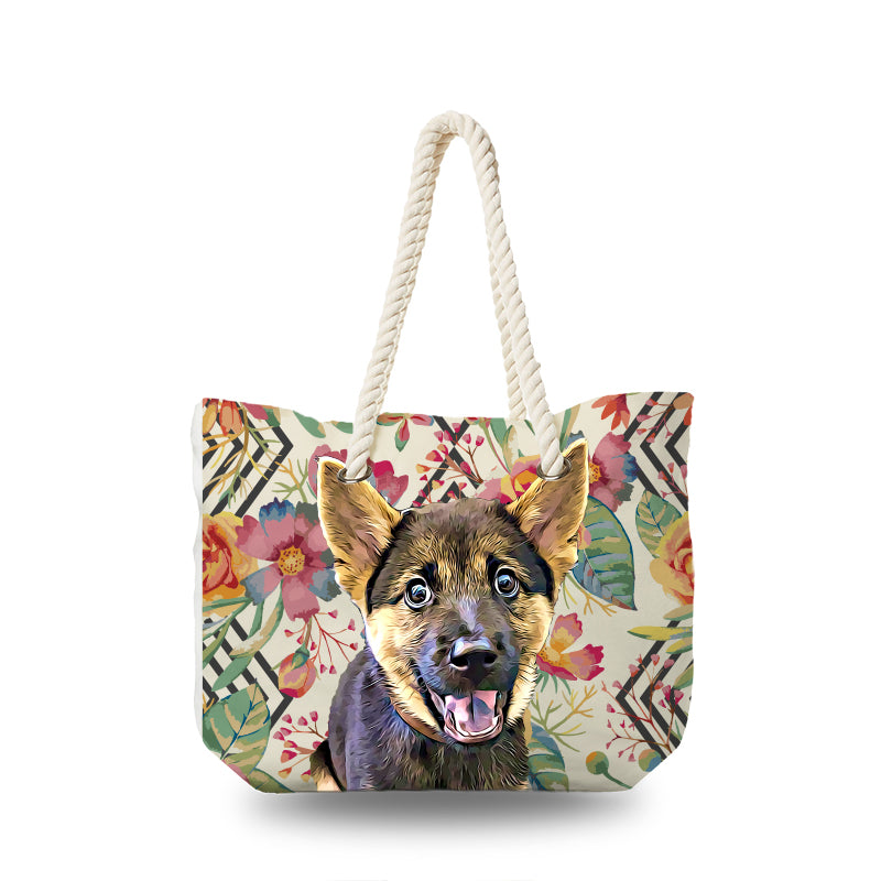 Canvas Bag - Floral Watercolor with Diamond Shape