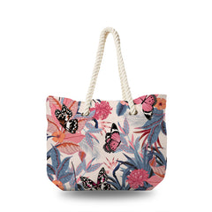 Canvas Bag - Butterfly in Pink Tropical Forest