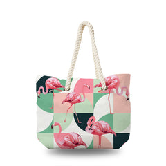 Canvas Bag - Flamingo in Exotic beach
