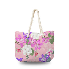 Canvas Bag - White Orchid and Pink Wild Flower