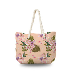 Canvas Bag - Lilly Flowers on pink Pastel Background