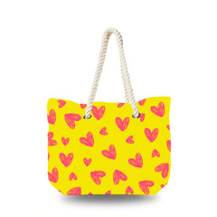 Canvas Bag - Hand Drawing Heart in Yellow Backgound