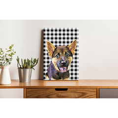 Pet Canvas - Black And White Check Pattern