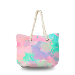 Canvas Bag - WaterColor Paint in Pink and Teal