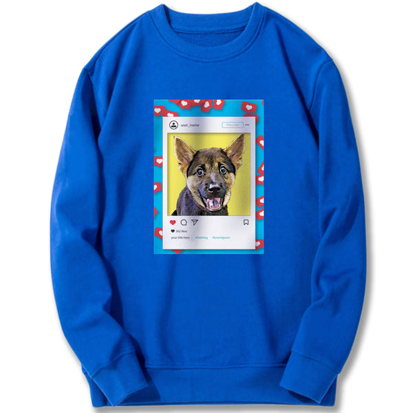 Custom Sweatshirt - Likes For Likes in Blue