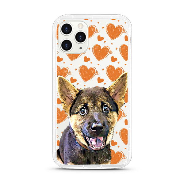 iPhone Aseismic Case - Orange Brown Hearts