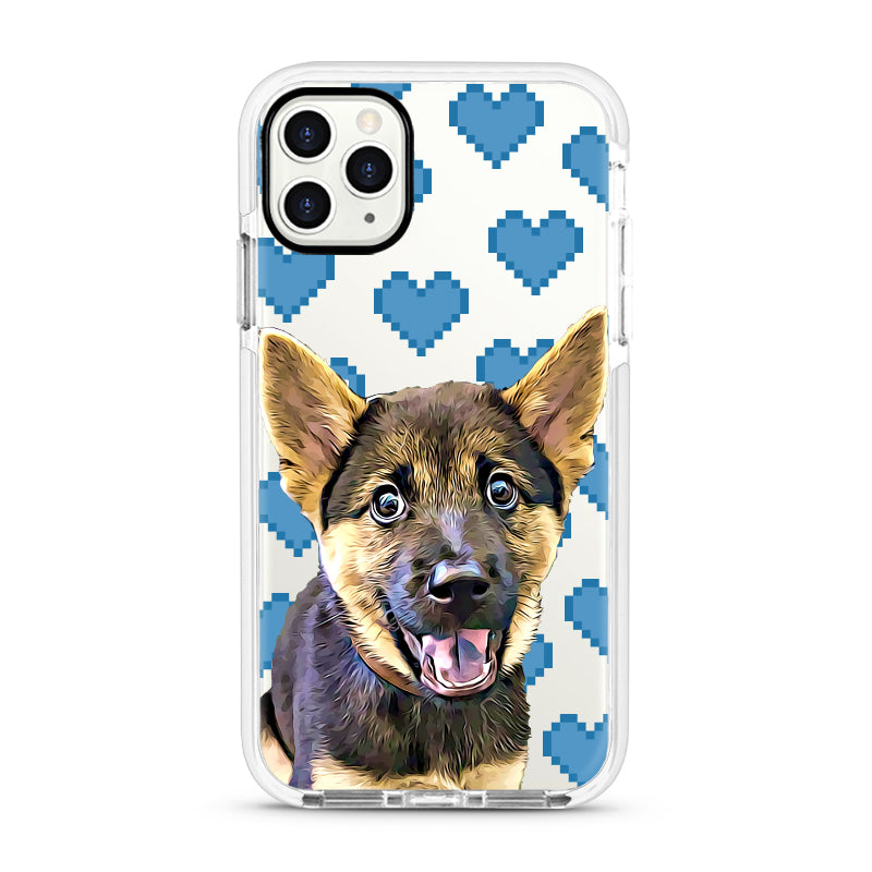 iPhone Ultra-Aseismic Case - Blue Pixel Hearts