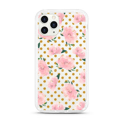 iPhone Aseismic Case - Pink Rose in Gold Dot background