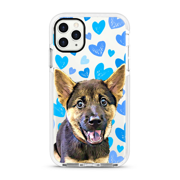 iPhone Ultra-Aseismic Case - Hand Drawing Blue Hearts 2