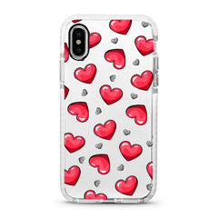 iPhone Ultra-Aseismic Case - Red and Gray Hearts