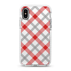 iPhone Ultra-Aseismic Case - Red and White Checked Pattern