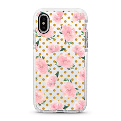 iPhone Ultra-Aseismic Case - Pink Rose in Gold Dot background