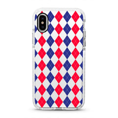 iPhone Ultra-Aseismic Case - Red Blue Diamond Pattern