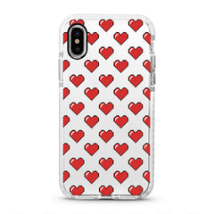 iPhone Ultra-Aseismic Case - Pixel Red Hearts