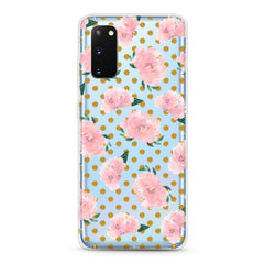 Samsung Aseismic Case - Pink Rose in Gold Dot background