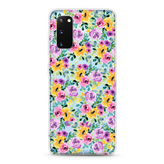 Samsung Aseismic Case - Water Paint Floral Garden