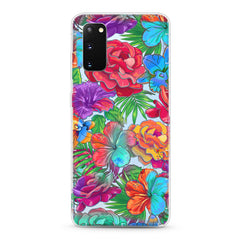 Samsung Aseismic Case - Scarlet Red and Blue Floral
